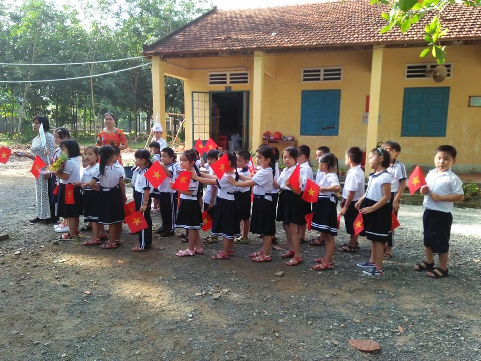 Các em học sinh khối 1 chuẩn bị diễu hành với sự hướng dẫn của các cô giáo chủ nhiệm khối 1